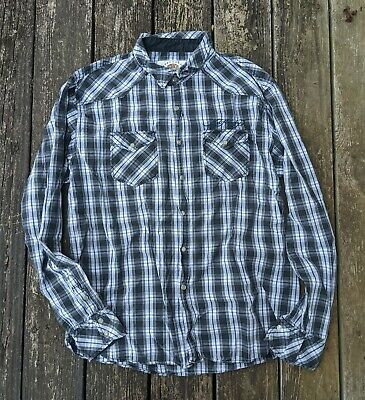 $23 • Buy ED HARDY Men's Long Sleeve Shirt Plaid Embroider Logo Snap Button Up Size XL