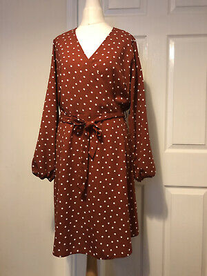 £8.80 • Buy Polka Dot Wrap Around, Floaty Summer Dress Size 12 Belted