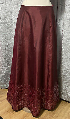 £19.99 • Buy Laura Ashley Red Wine Taffeta-Look Evening Maxi Skirt With Sequins Size 14