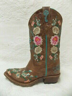 $49.99 • Buy Macie Bean Floral Rose Garden Western Cowgirl Boots Youth Kids Snip Toe Size 12