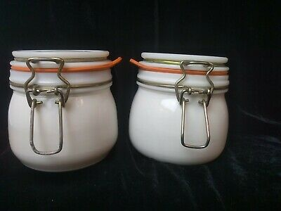$19 • Buy Milk Glass Canister Canning Jar With Bail Wire Lid Pair Pint 16 Oz.