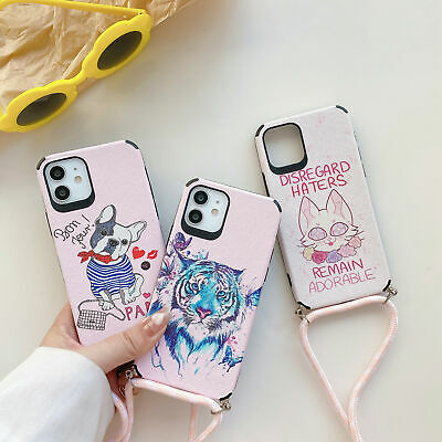 AU13.54 • Buy Painted Phone Case With Lanyards For IPhone 12 Mini 12 Pro Max 11 XS XR 6 7 8 SE