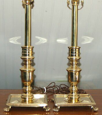 $250 • Buy Brass Candlestick LAMPS Maitland Smith Williamsburg Georgian PAIR Square 9-L
