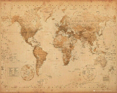 AU19.90 • Buy MAP OF THE WORLD ANTIQUE OLD VINTAGE STYLE POSTER (40x50cm) PICTURE PRINT ART