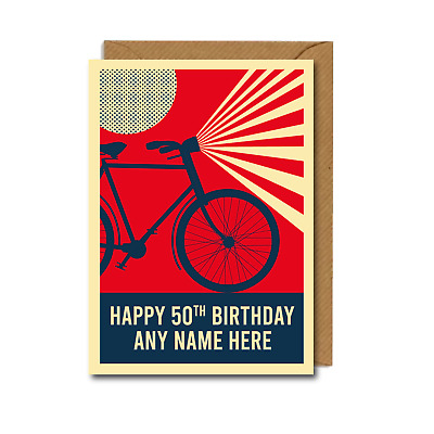 £2.75 • Buy *PERSONALISED* 50th Cyclist BIKES Bicycles BIRTHDAY CARD Cycling RETRO