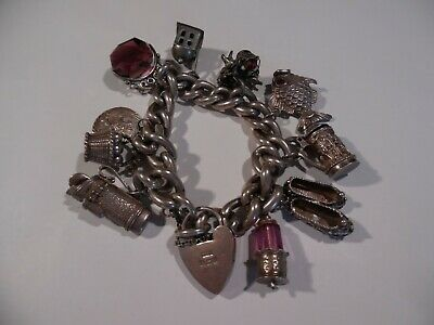 £75 • Buy Vintage Sterling Silver Charm Bracelet, 10 Charms, Padlock And Safety Chain