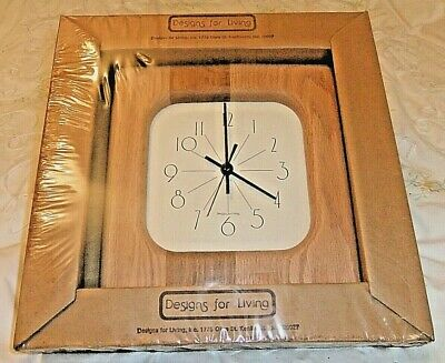 £14 • Buy American Oak Wall Clock With Square White Face. Battery Operated Quartz Movement