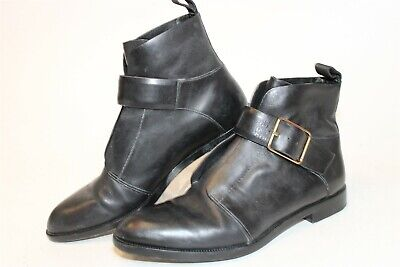 AU10.20 • Buy Alexander Wang Womens 36 6 Short Black Leather Buckled Booties Ankle Boots