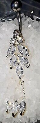 £2.99 • Buy NEW Crystal Waterfall Reverse Drop Top Belly Dangle Navel Ring Belly Bar 10mm