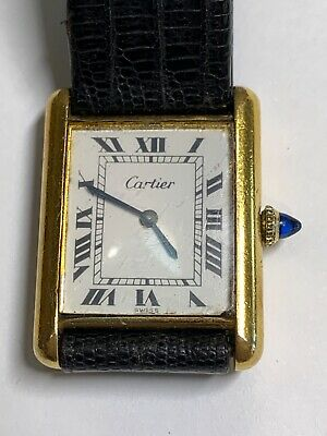 $1250 • Buy Cartier 18k Gold Plated Mans Vintage Tank Watch Mechanical Runs Perfectly