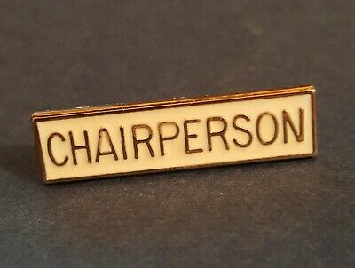 £4.90 • Buy Chairperson - White & Gold - Chair Person - Collectors Enamel Pin Badge #T2