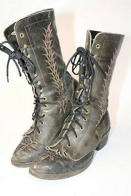 $24.50 • Buy DISTRESSED Mens Size 10.5 D Leather Mid Lace Up Heeled Logger Boots 4812
