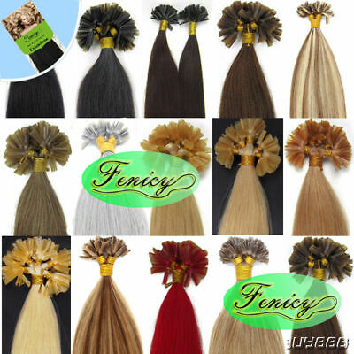 $31.61 • Buy Pre-Bonded Keratin Glue Fusion U Tip 100% Remy Human Hair Extensions Thick 1g/s