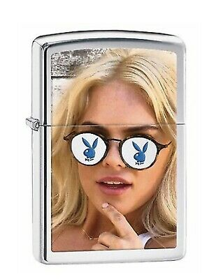 AU59.95 • Buy Zippo Playboy Lighter Girl With Sunny Glasses In High Polish Chrome Made In USA