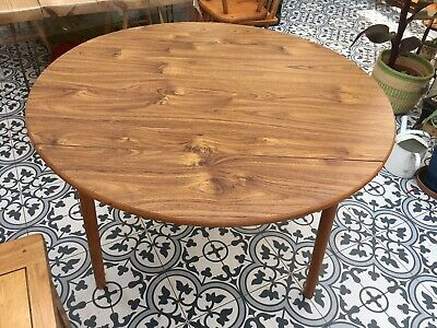 £30 • Buy Vintage Round Mid Century Style Drop Leaf Side Table Small Kitchen Dining Table