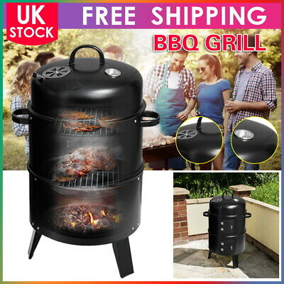 £38.99 • Buy 3 In 1 Charcoal Barbecue Smoker Outdoor Garden BBQ Grill Camping & Temperature