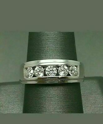 $115.99 • Buy 1 Ct Round Diamond Five Stone Engagement Band Ring 14K White Gold Over Men's