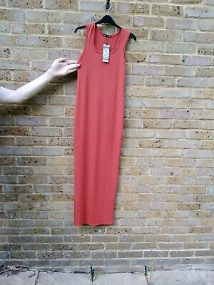 AU7.46 • Buy Maternity Scoop Rib Maxi Dress In A Pretty Rust By Boohoo Size 10 With Tag