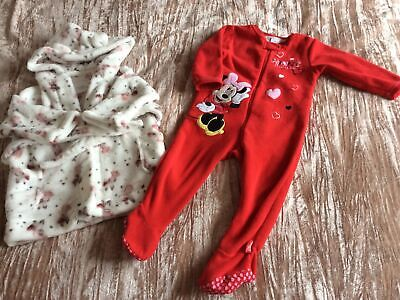 £4.90 • Buy Next White/Pink Dressing Gown Red Disney Minnie Mouse Fleece Onsie 12/18 Mths