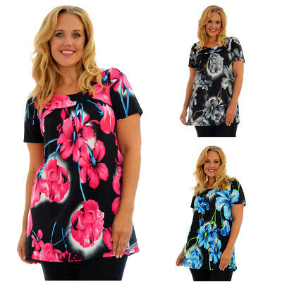 £12.99 • Buy Womens Top Floral Print Ladies Tunic Short Sleeve Shirt Smock Plus Size Nouvelle
