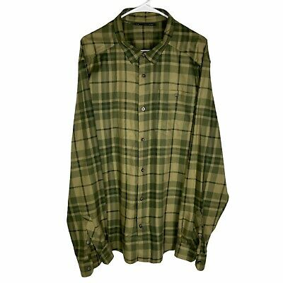 $21.90 • Buy Under Armour Long Sleeve Flannel Shirt Men's 2XL Beige Gold Green Plaid Fitted