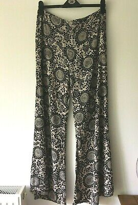 £1.99 • Buy Topshop Taupe / Black Patterned Flared Wide Leg Pants Trousers Size 12  / 40