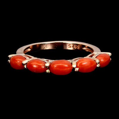 £0.72 • Buy Natural Oval Coral Italy 5x3mm 14K Rose Gold Plate 925 Sterling Silver Ring 7