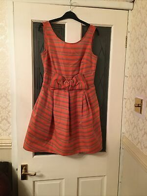 £5 • Buy Lovely Dressy River Island Coral Multi Fit Flare Mini Dress 12 Bow Front