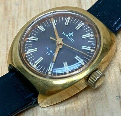 $ CDN31.46 • Buy Vintage Pronto Lady 17 Jewels Gold Tone Leather Hand-Wind Mechanical Watch Hours