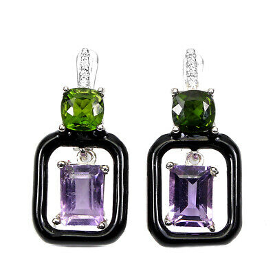 £16.28 • Buy Unheated Octagon Amethyst 7x5mm Cz Chrome Diopside 925 Sterling Silver Earrings