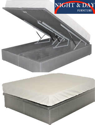 AU899 • Buy Brand New Storax Gas Lift His & Her Storage Double Bed Ensemble Base Cement