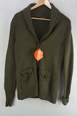 $41.71 • Buy RALPH LAUREN Mens Cardigan RUGBY ELBOW PATCHWORKS Button WOOL Sweater Small P62