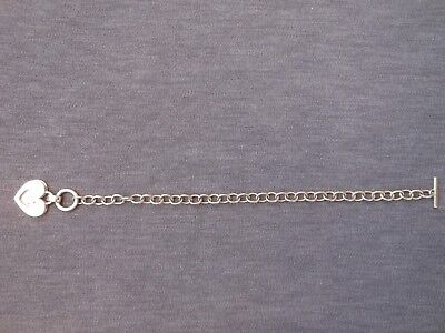 £18.99 • Buy Sterling Silver Chunky T Bar Bracelet With Heart Shapes - 925