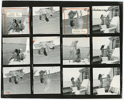 AU15.56 • Buy Bunny Yeager 1960s Pin-Up Contact Sheet Photograph Four Model Miami Yacht Shoot