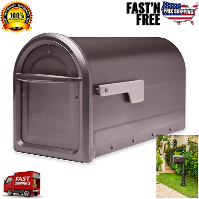 $36.99 • Buy ARCHITECTURAL Large Mailbox Post Mount Bronze Steel Box Residential Mail Storage
