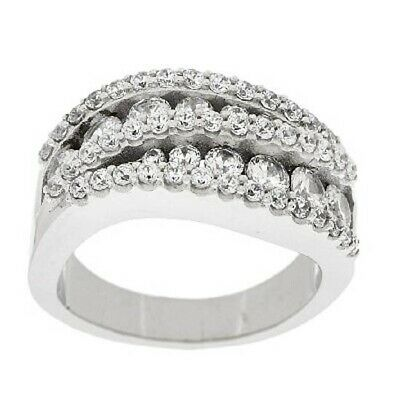 $ CDN41.53 • Buy QVC Epiphany Sterling Silver Diamonique 1.30ct Round Swirl Band Ring Size 8