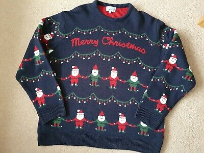 $18.03 • Buy Mens Xxl Marks And Spencer Christmas Jumper Navy Worn Few Times Only Xmas Mens