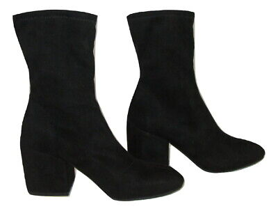 £13.74 • Buy Fergie Boots Black Womens Size 7.5 37.5 Dnate Mid Calf Faux Suede Leather Heeled