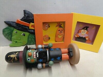 $ CDN37.75 • Buy 1980s HALLOWEEN 4 Piece Lot WITCH NUTCRACKER Plaques More Wall Decor Used