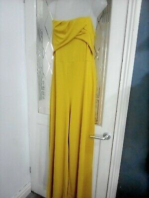 £9.99 • Buy Ladies Beautiful Wide Leg Jump Suit Size 14 In Mustard New From Boohoo