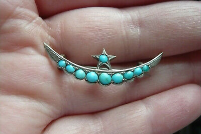 £41 • Buy Victorian Turquoise And Silver Crescent Moon And Star Brooch