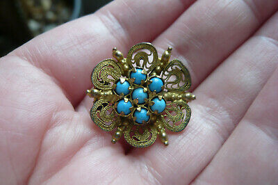 £0.99 • Buy Victorian Turquoise Glass And Filigree Gold Gilt Metal Brooch