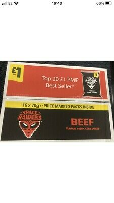 £15.98 • Buy SPACE RAIDERS BEEF £1 BAG 78g -  BOX OF 16 PACKS FREE DELIVERY