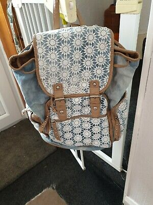 £7.99 • Buy New Look Blue Denim White Embroidery Lace Backpack