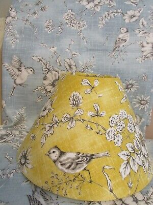£35 • Buy Handmade Candle Clip & Coolie Lampshade French Toile Finch Bird Blue Or Yellow
