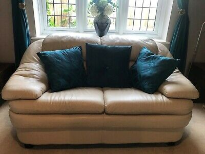 £175 • Buy Cream 3 Piece Suite Sofa Settee 3 + 2 Seater & Chair In Soft Italian Leather Vgc