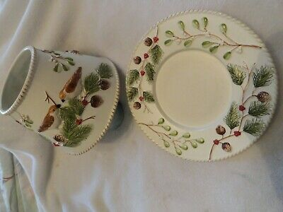 £16 • Buy Yankee Candle Lg Topper Set Shade & Plate Winter Pine Branch Cones Berries Bird