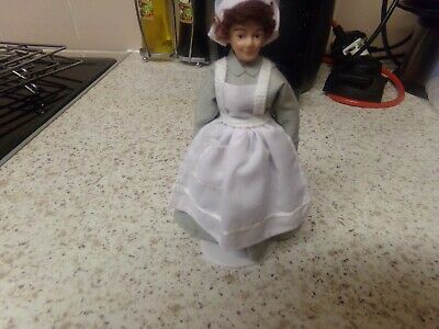 £2.60 • Buy Dolls House Doll Maid In A Grey Dress And White Apron