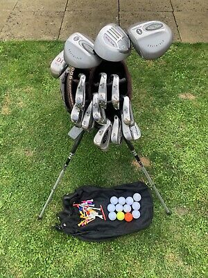 AU132.19 • Buy Full Set Of Mens Golf Clubs 3 Woods, 11 Irons & Putter In Ogio Carry / Stand Bag
