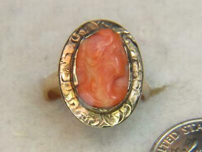 £341.77 • Buy Antique Carved Cameo Pinkish Orange Coral C1900 14kt Yellow Gold Estate Ring